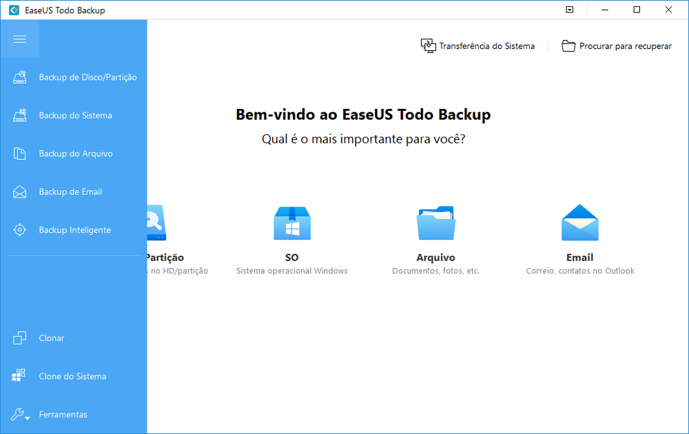 Backup de dados do computador com EaseUS Todo Backup para evitar que o Windows 10 trave na tela de login